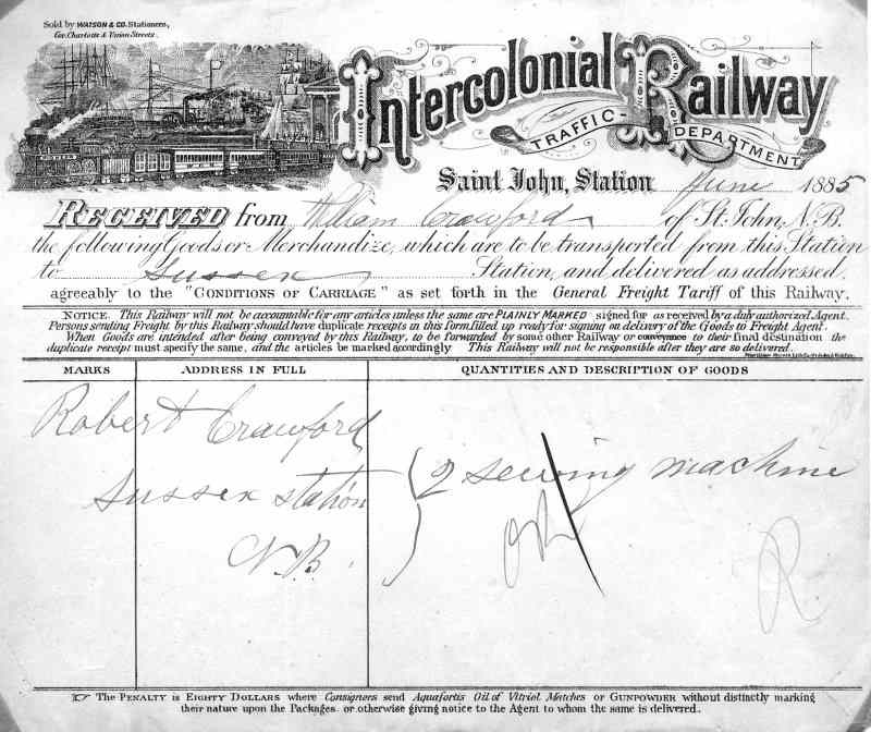 Intercolonial Railway waybill June 1885