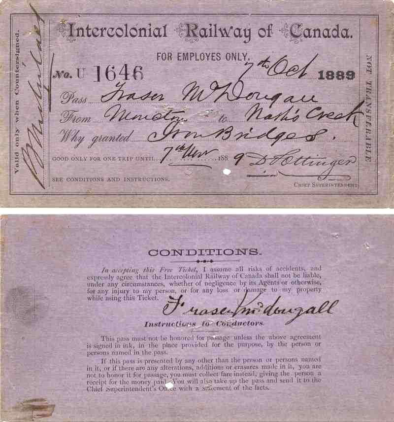 Intercolonial Railway Pass October 1889