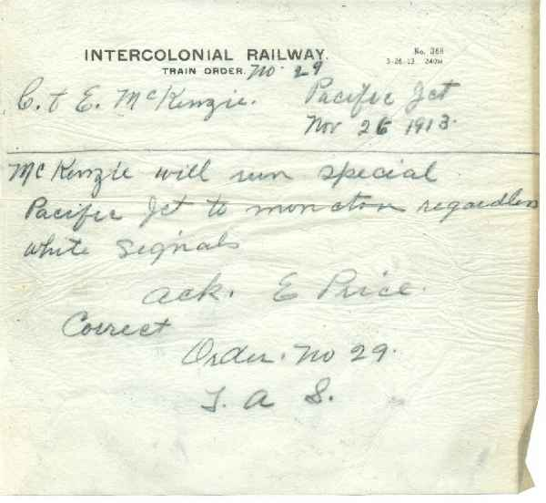 Intercolonial Railway Train Orders