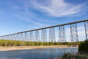 A potash train crossing the High Level Bridge in Lethbridge, Alberta
