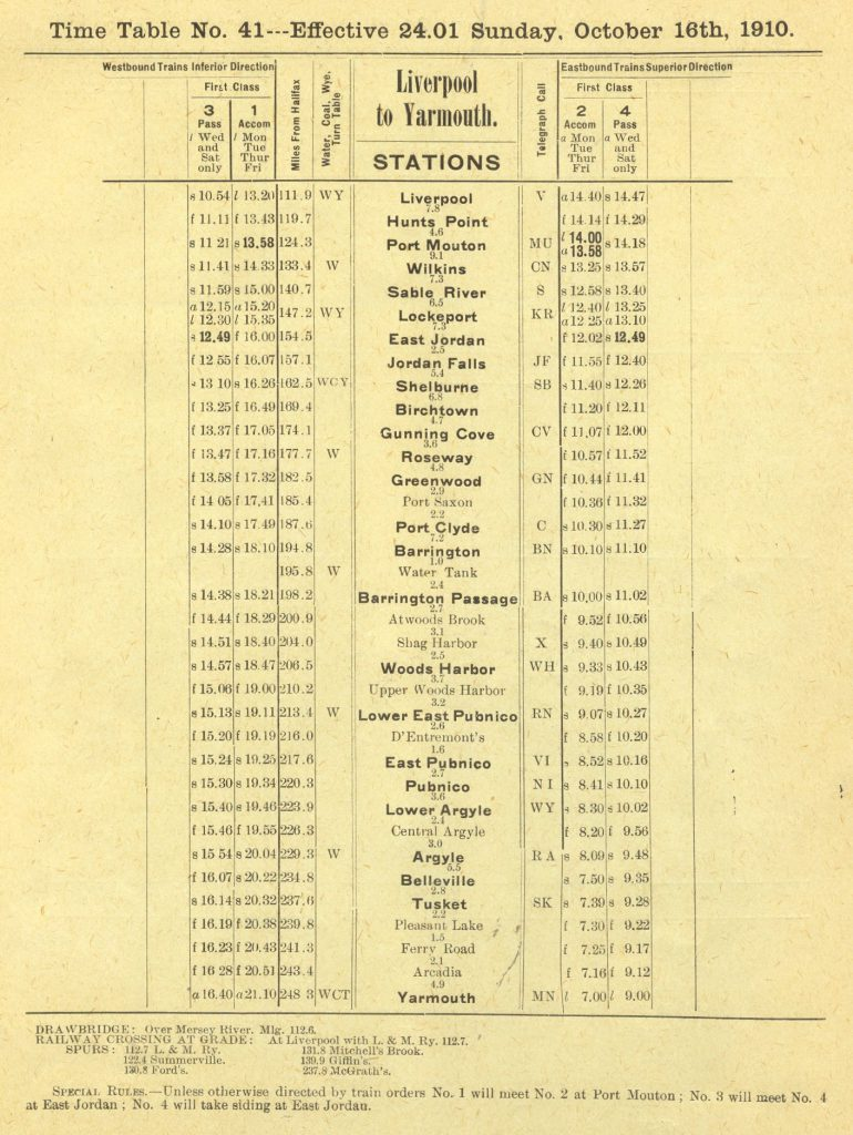 Halifax and South Western Railway, Liverpool to Yarmouth, 1910/10/16
