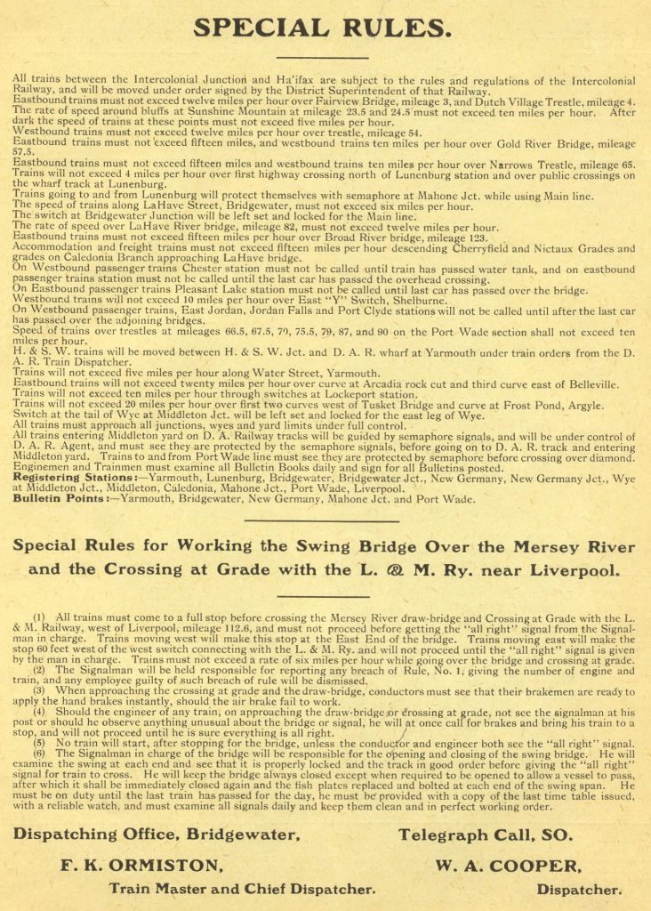 Halifax and South Western Railway, Special Rules, 1910/10/16