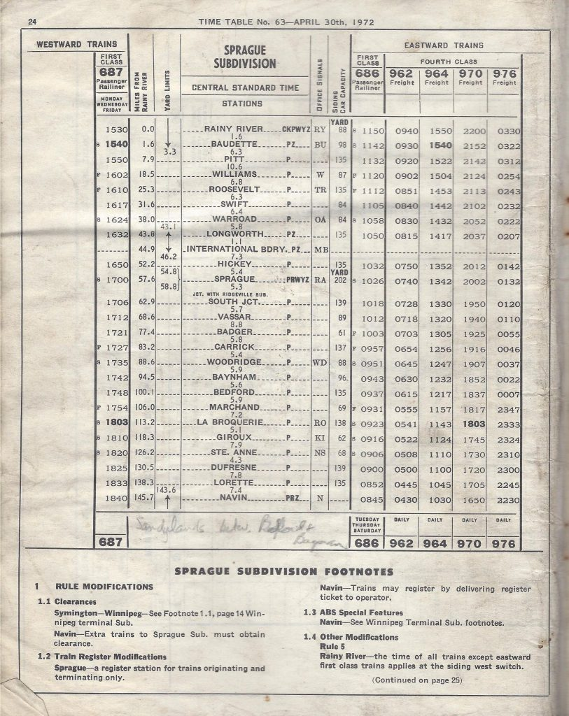 CN Sprague Subdivision, 1972/04/30 Employee Timetable