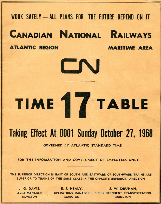 CN Oct 1968 Employee Timetable