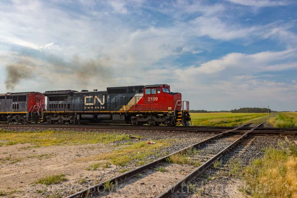CN 2199 about to cross the diamond