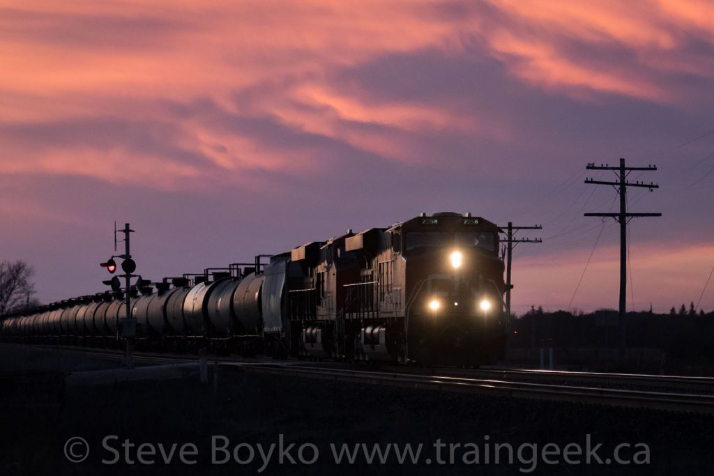 Oil train at sunset