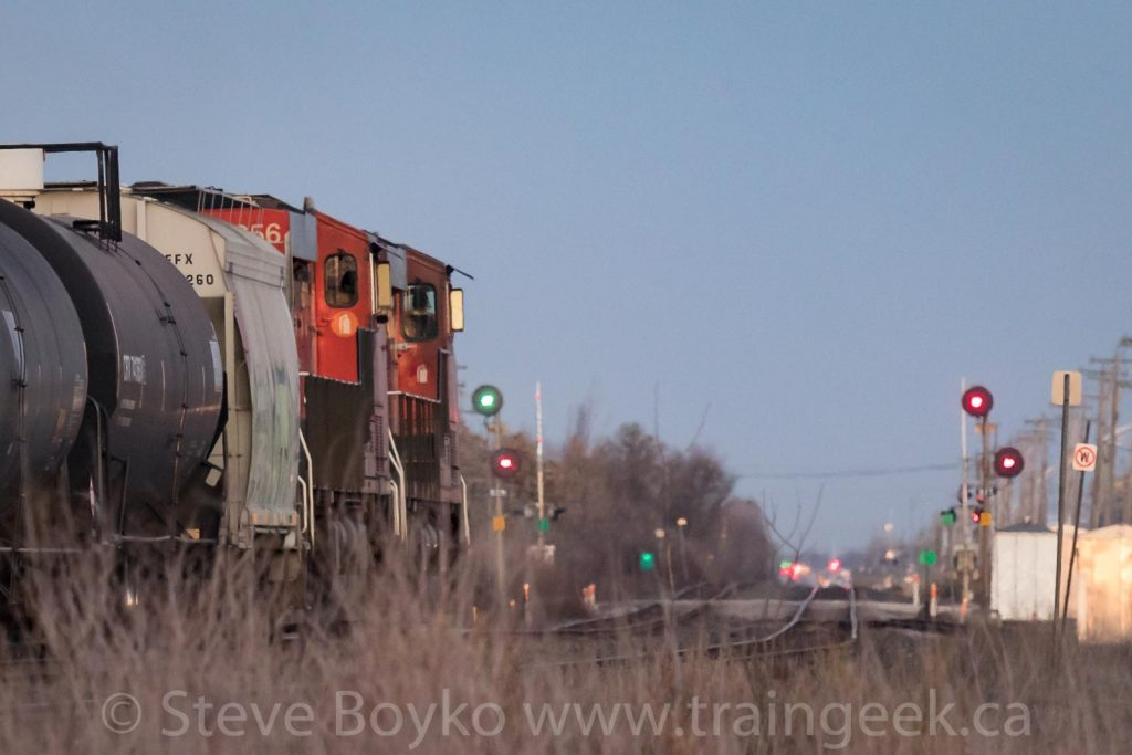 GREEN OVER RED - CN 2258 and 2956 heading east.