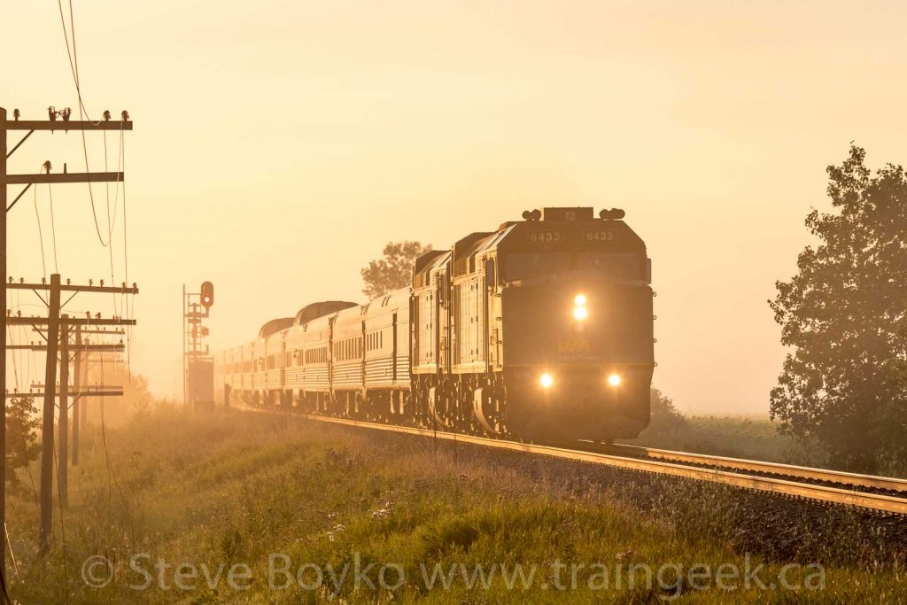 "VIA Rail's ""Canadian"" in a golden sunrise"