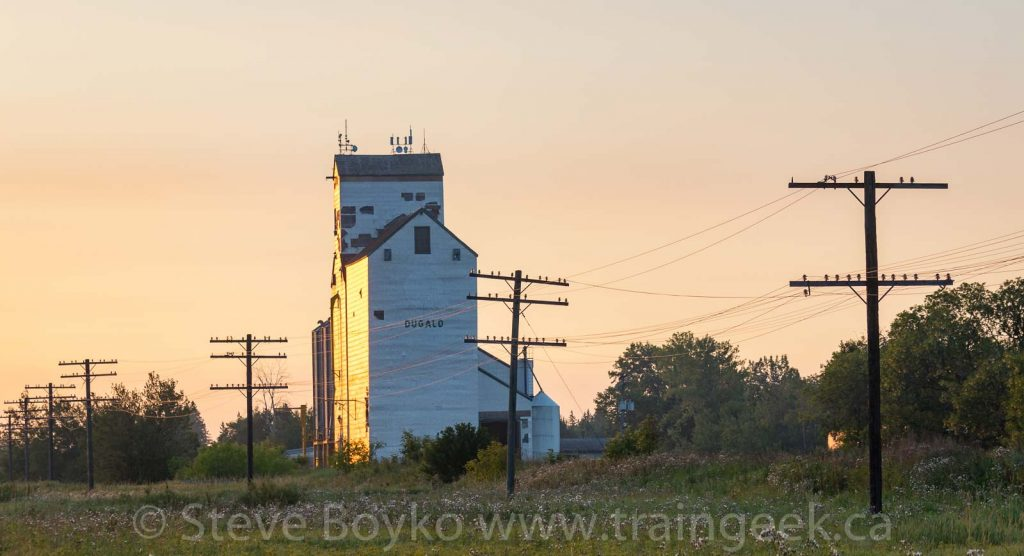 The Dugald grain elevator at sunrise