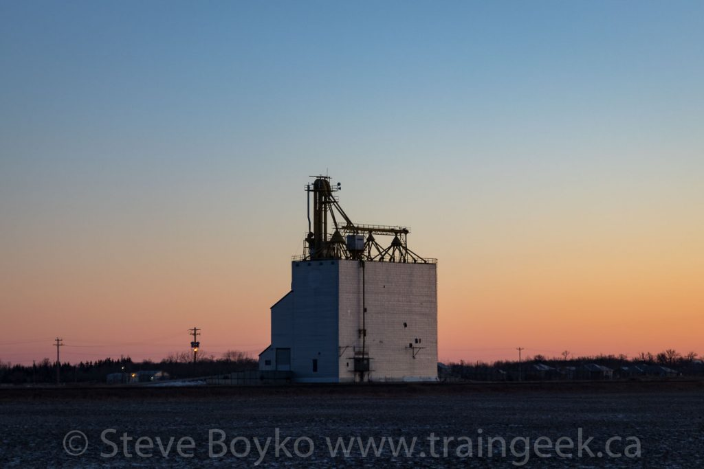 Elie grain elevator at sunrise