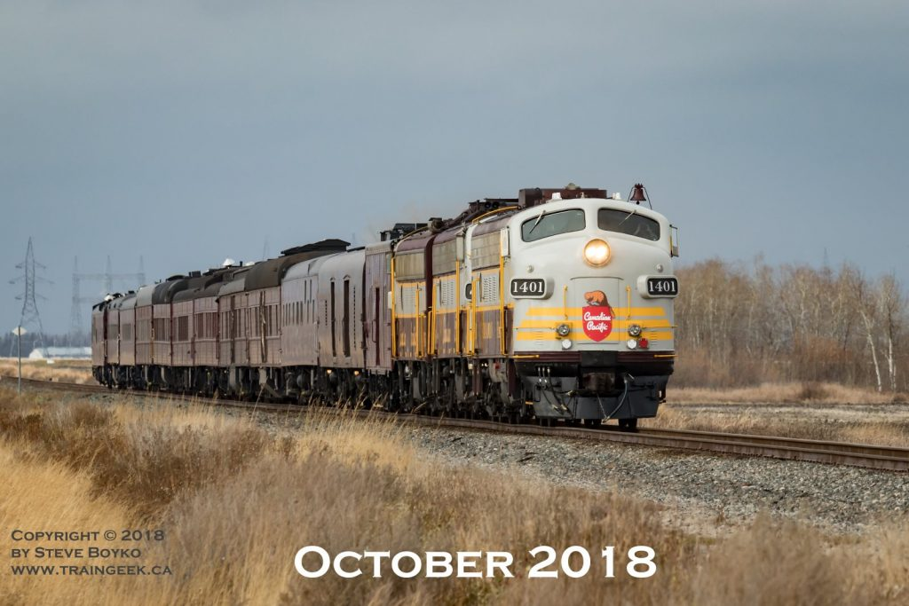 The CP Rail business train approaching Winnipeg