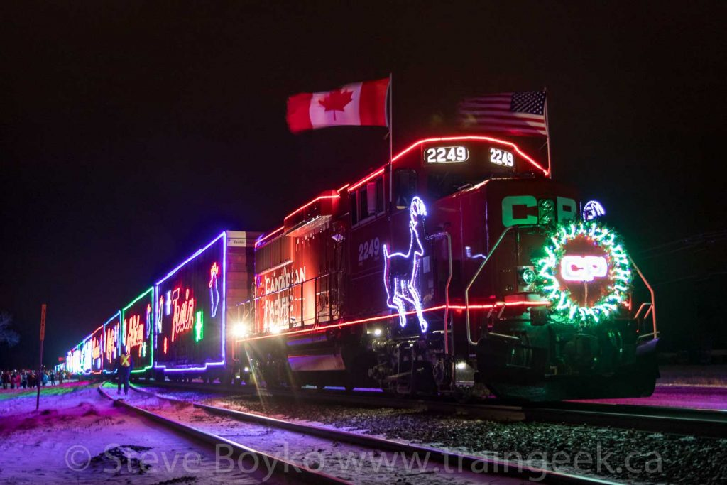CP 2249 with the Holiday Train in Whitemouth, Manitoba.