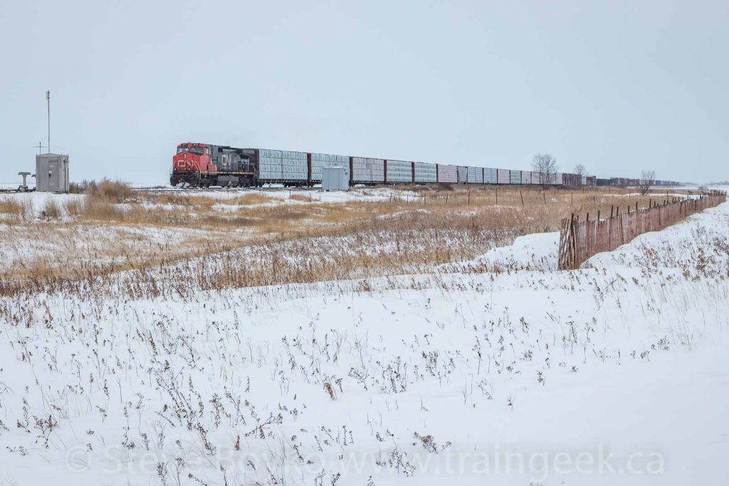 A CN freight train with IC 2711 leading.