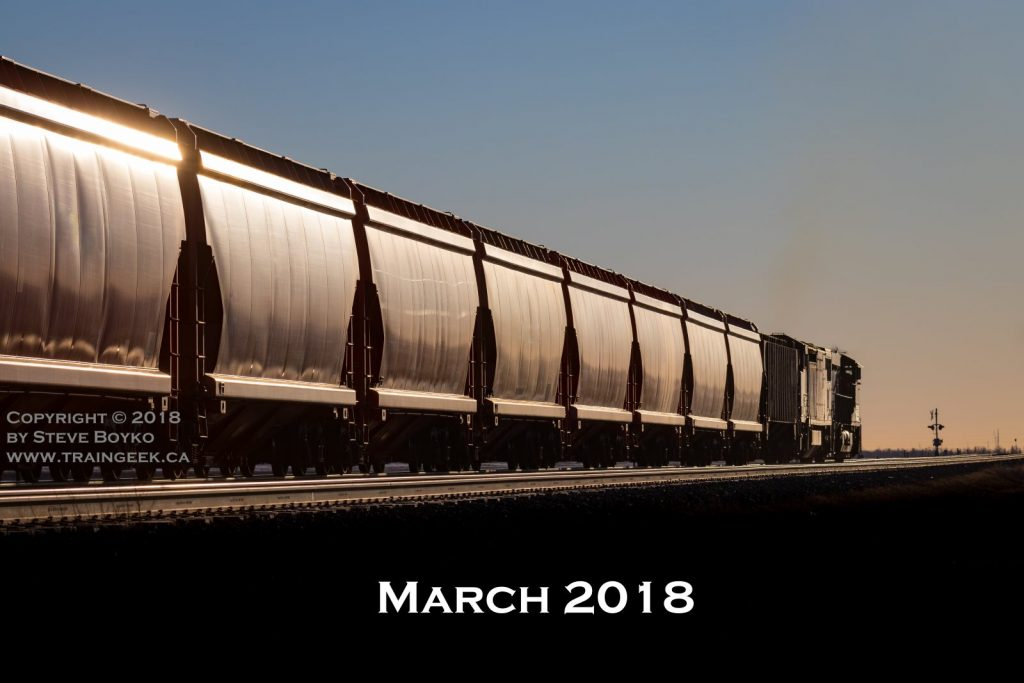 Potash train glinting at sunset, March 30, 2018
