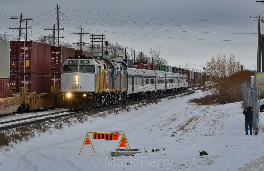 VIA 693 leaving Winnipeg - photo by Mark Perry