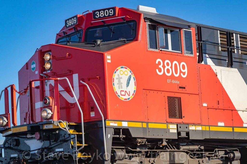 "CN's new locomotives feature the ""aboriginal affairs"" logo"