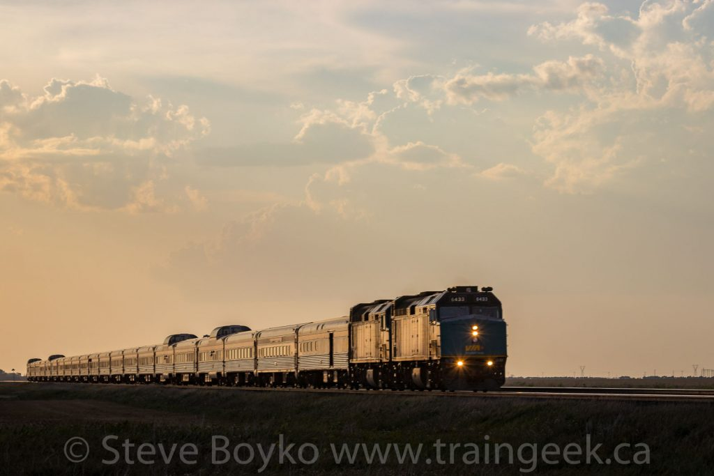 "VIA Rail's ""Canadian"" at sunset"