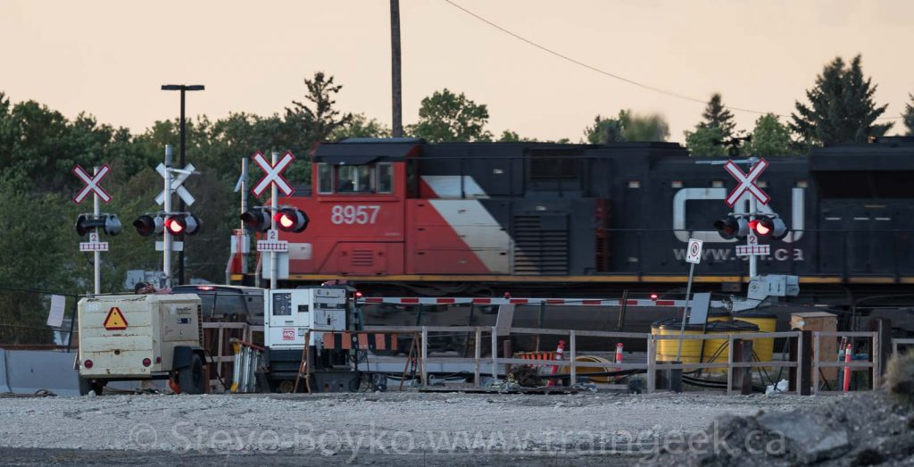 CN 8957 passing through the construction at Waverley Street