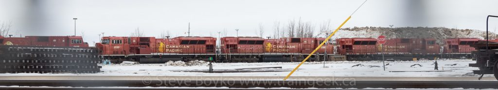 Parked SD90MAC locomotives in Winnipeg