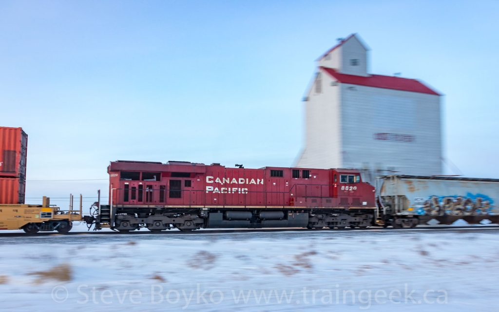CP 8820 passing the Rouleau grain elevator
