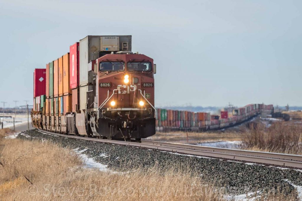 A Canadian Pacific Railway train stretching across the prairie