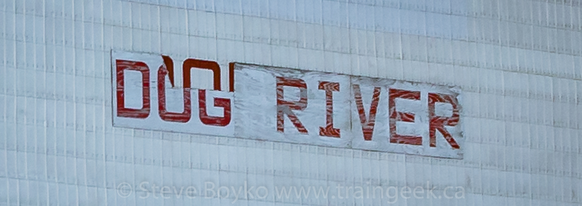 The DOG RIVER sign on the Rouleau grain elevator