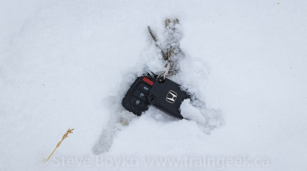 Car keys in the snow