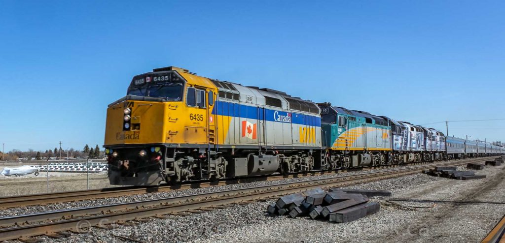 "VIA Rail's ""Canadian"" with the Coors Light Silver Bullet locomotives"