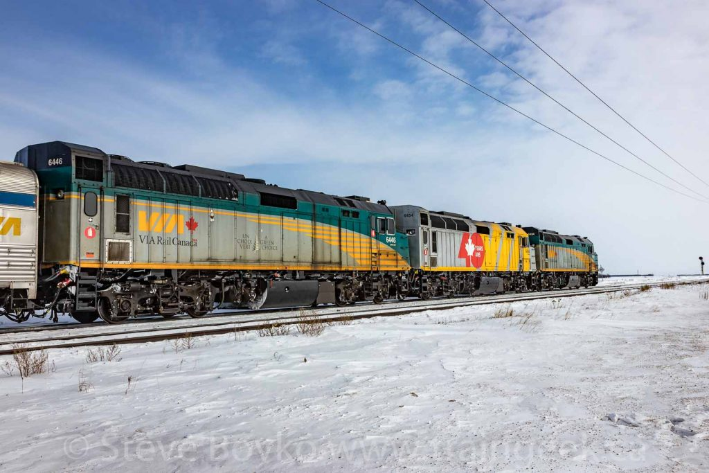 "VIA Rail's ""Canadian"" with 3 locomotives"