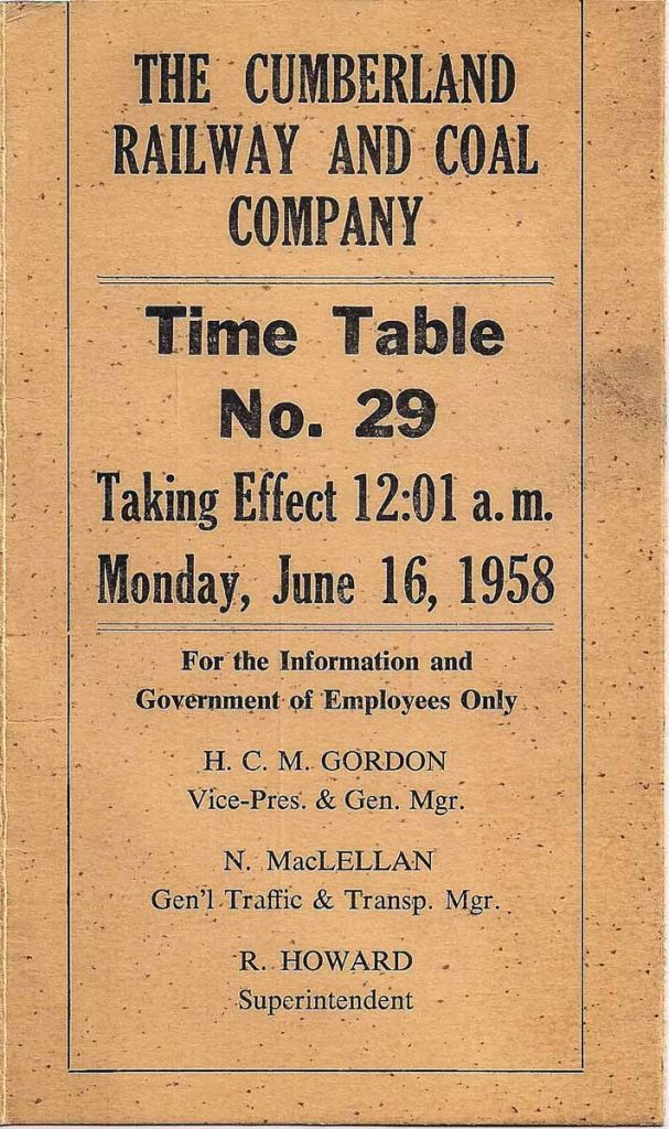 Cover of June 16, 1958 Cumberland Railway and Coal Company public timetable