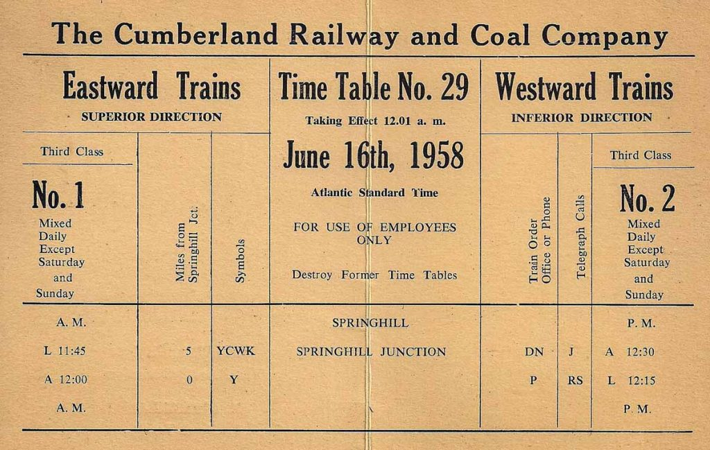 June 16, 1958 Cumberland Railway and Coal Company public timetable