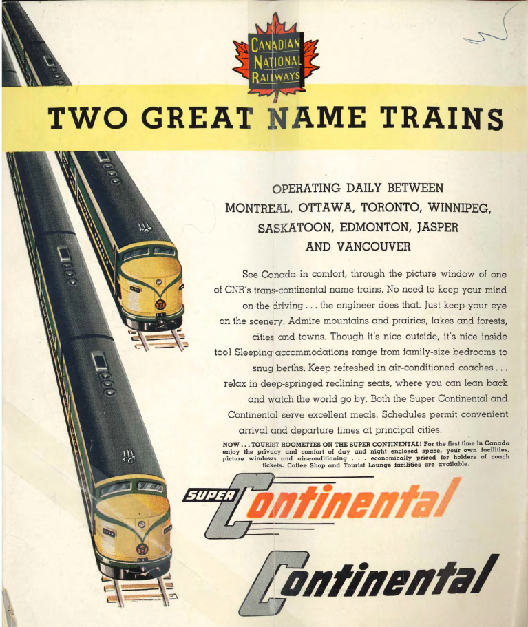 1959/04/26 - Two Great Name Trains - the Super Continental and the Continental