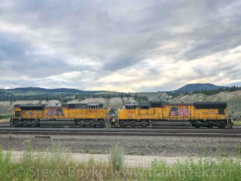 A pair of gritty Union Pacific locomotives at Geddis in British Columbia