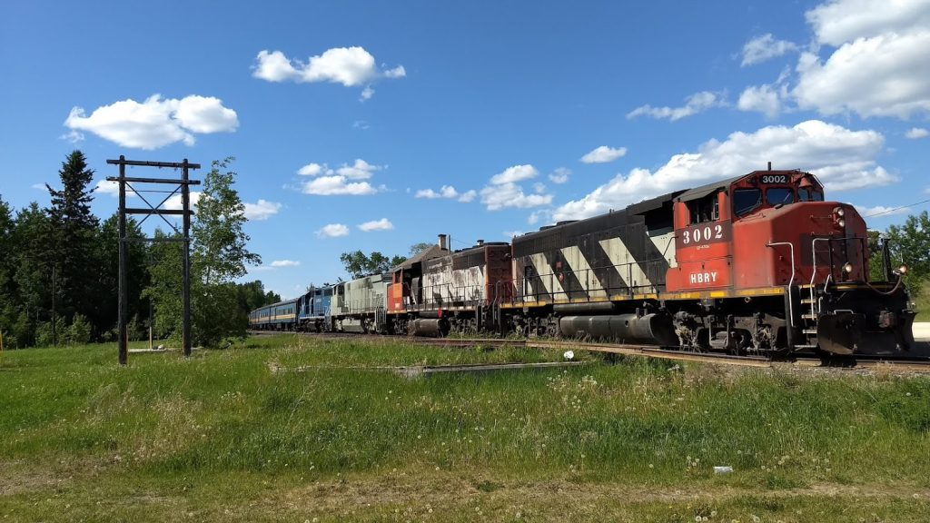 HBRY 3002 and others at Cranberry Portage. Photo by Alan Graham.