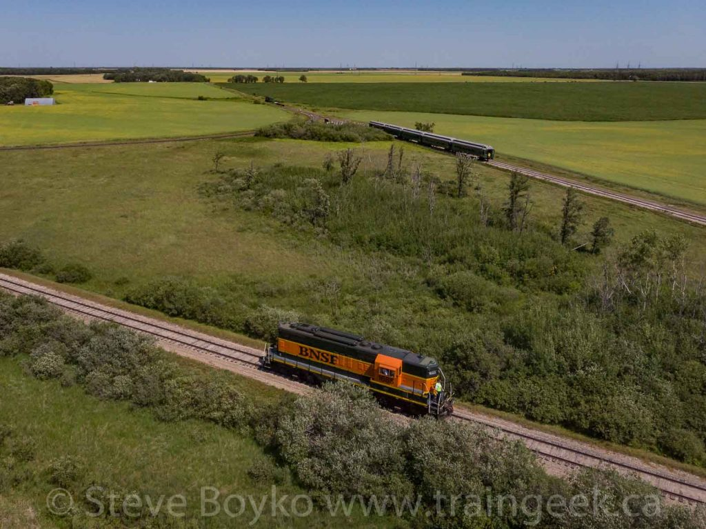 BNSF 1685 and the Prairie Dog Central on the wye