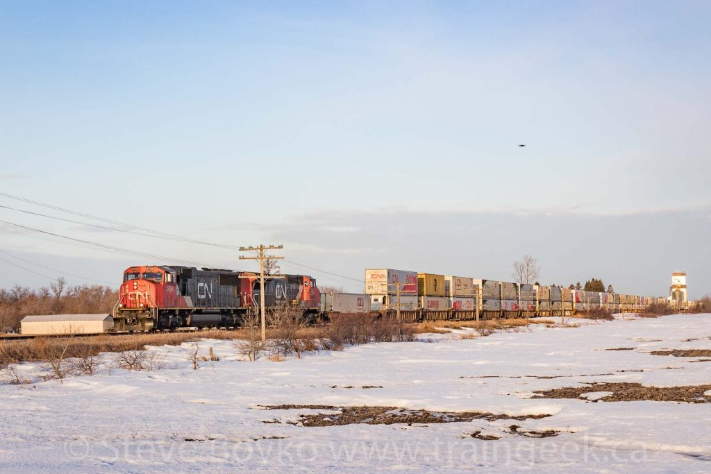 An eastbound train at Dugald, Manitoba