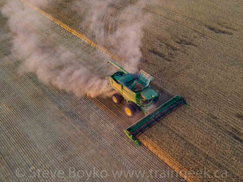 Aerial view of the John Deere combine