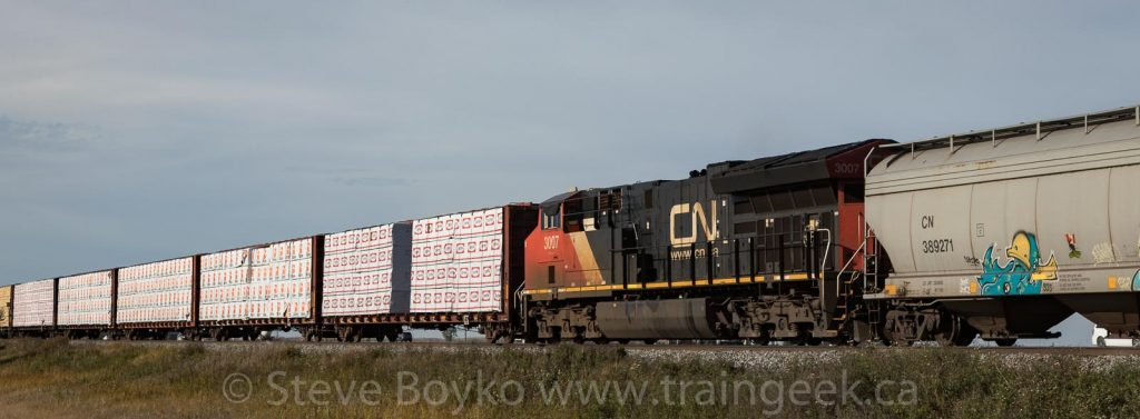 CN 3007 was in the middle of the train
