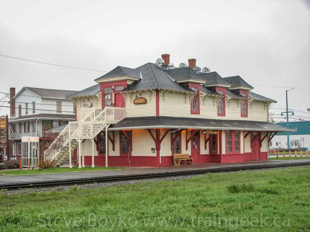 The two story train station in Amqui, Quebec