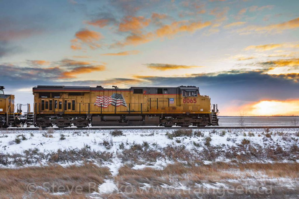 UP 8065 at sunset