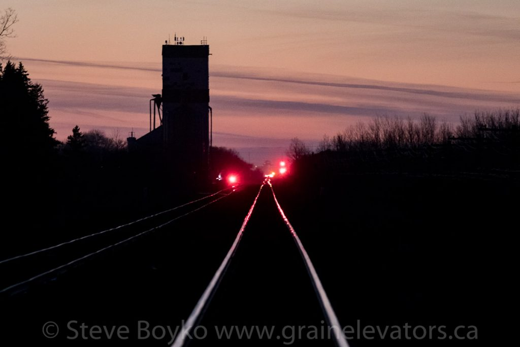 Dugald grain elevator against the sunset sky
