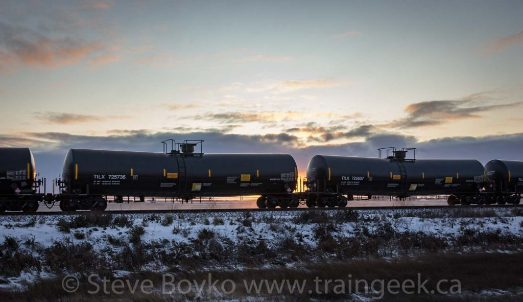 Tank cars at sunset