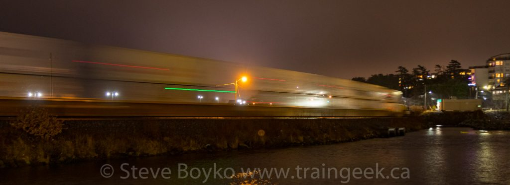 The blur of CN 121 leaving Halifax