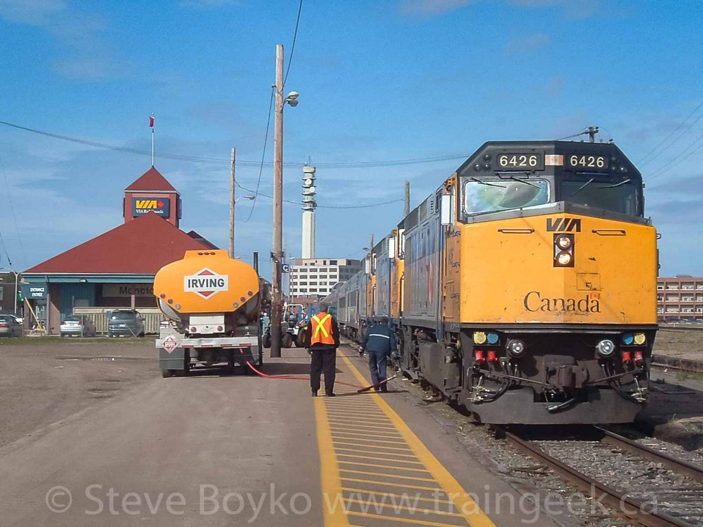 VIA 6426 refueling at the Moncton, NB station