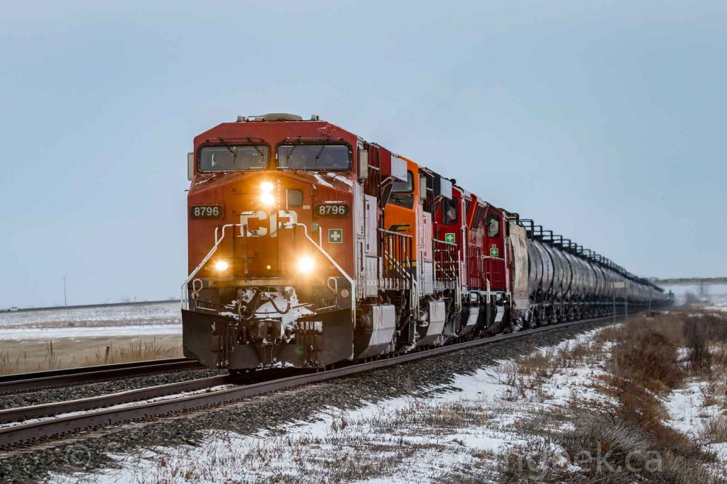 CP 8796 leading an oil train