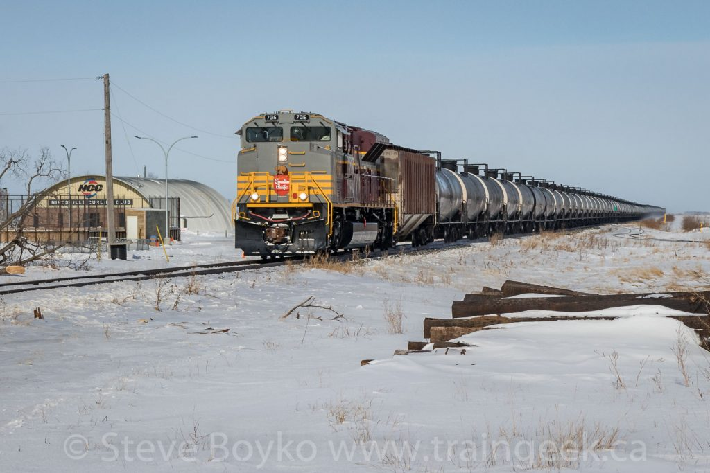 CP 7016 passing the Niverville Curling Club