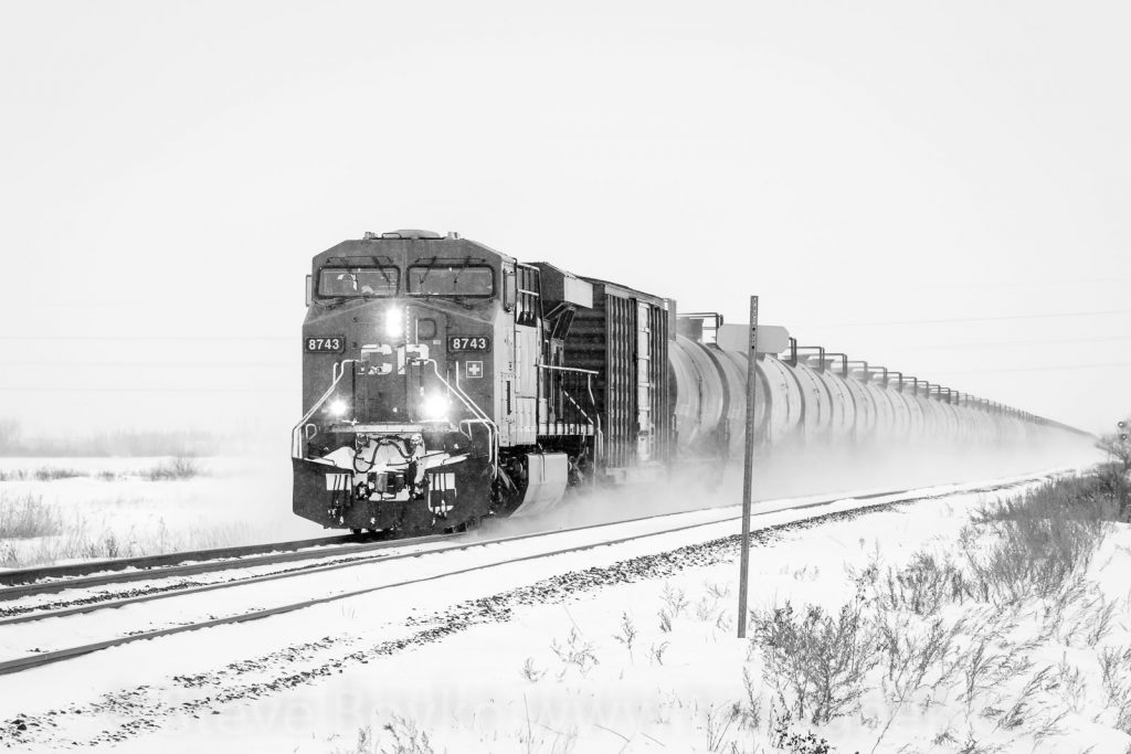 CP 8743 in the snow