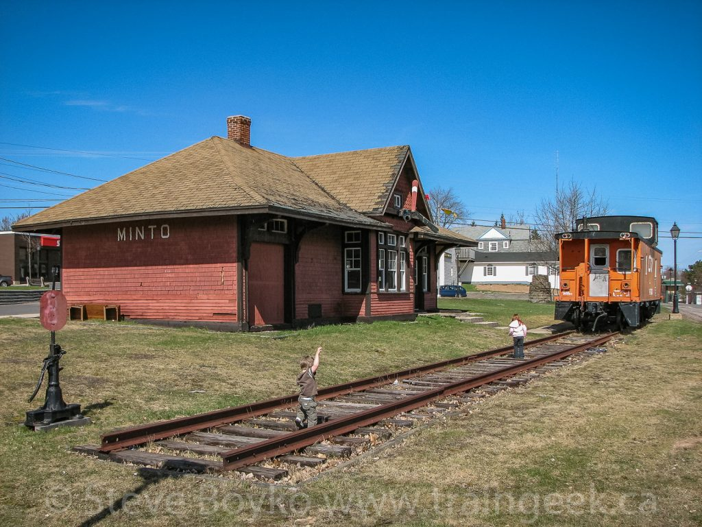 The train station and caboose in Minto, New Brunswick, April 2009