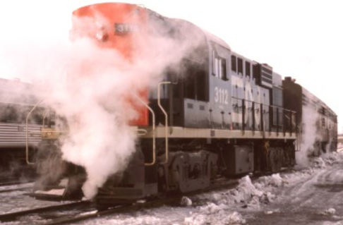 CN 6764 steaming at the Fairview yard in Halifax, NS, Feb 16 1974