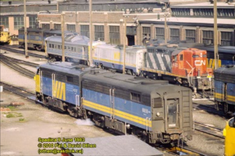 VIA 6859 and 6787 in Toronto, June 1983